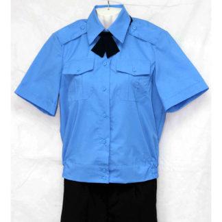 45fd5b196b9d Рубашка форменная женская голубая для сотрудниц охраны на резинке (короткий  рукав)